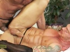 Vito Gallo wears a corset and aggressively fucks Mitchell Rock in stockings