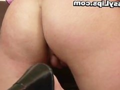 Slut with puffy pussy lips riding cock part1