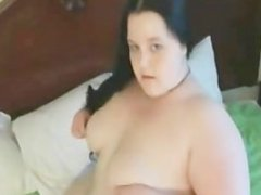 Horny Fat BBW GF showing her Big tits and sucking a dildo