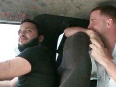 Horny guys talking redhead into hot sex