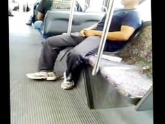 Mans dick hard on da bus