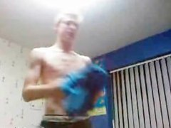 Blonde Twink Strips Naked And Jacks Off part1