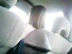 Black guy jerking off in backseat of car