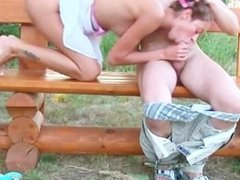 Russian teen couple coitus on a bench