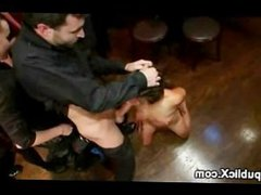 Tied up babe humiliated and fucked and caned in public bar