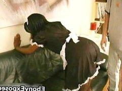 Ebony maid gives hot extra service part2