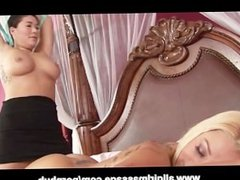 Asian London Keys and Briana Blair Lesbian Dildo Sharing