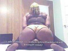 Queen Sheba Facefucks slave with Dildo Gag