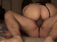 Sexy fuck and cumshot with thong pulled to the side