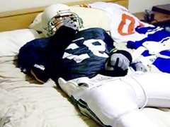 Football Player Nutts on His Gear