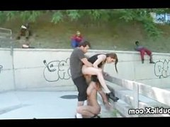 Two babes walked and fucked on the streets