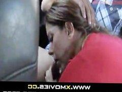Hot Latin Milf sucking in a car -