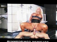 Slutty big-tit blonde Alura Jenson gets hard dick in a public bathroom