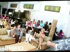 Amateur CFNM party girls jizzed by stripper