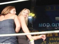 Hot chicks posing in the boxing ring