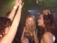 Horny slut getting naked in the night club