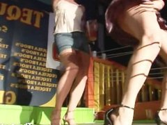 Attractive naughty girls going wild and crazy in the boxing ring