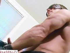 Muscled stud jerking his huge penis part4