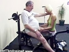 This beautiful instructor blows her senior clients cock