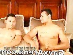 Latin Gay Couple Bathing And Wanking