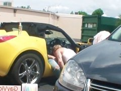 Blond buddy gets stinker pounded in car part2