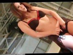 Sexy brunette slut gets horny stripping part6