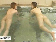 Subtitled Japanese swimming athlete bathhouse group fun