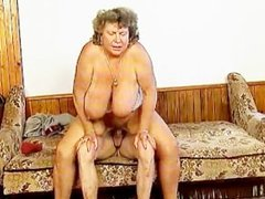 Dirty grandma with big tits riding part5