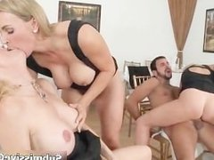 Busty blonde babe going crazy riding part1
