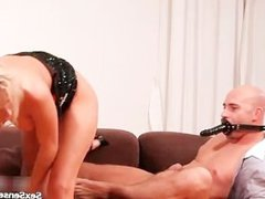 Hot brunette babe gets her pussy fucked by a guy with a mask
