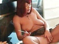 Juggs red haired bimbo smoking s&m scene part5