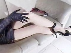 smoking asian pov with leather gloves