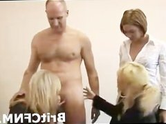 Naughty girls suck to test condoms on a CFNM guy