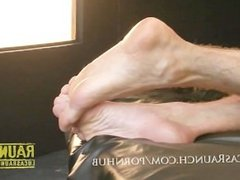 Hung top gets feet worshipped by muscle bottom then fucks him hard