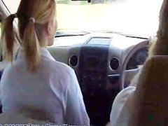 stepDaughter blows dad in the truck.