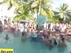 Public Pool party with many drunk Girls