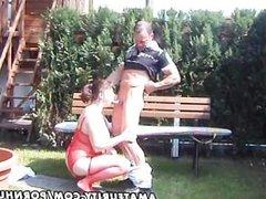 Chubby amateur Milf sucks and fucks in the backyard