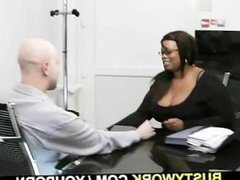 Lovely black plumper pleases her new boss