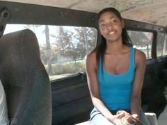 Ebony teen talked into sex in the bus