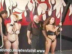 Ass spanking lesbian babes