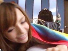 Asian hottie licks a dude's body in bed
