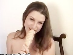 Busty Sara is ready to show her masturbating skills with a huge dildo