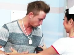 Sexy Japanese nurse Marcia Hase helps rehabilitate her patient