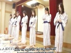 Subtitled busty indebted Japan milfs bathhouse sex game