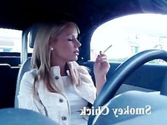 Waiting in the car, smoking and looking sexy