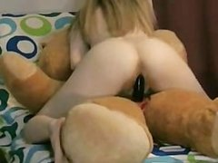 Young Blonde Teen Ridding Her Teddy Bear With Strap On