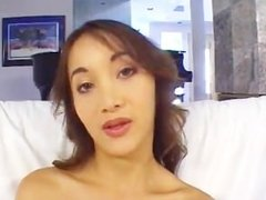French Asian babe Katsumi gets fucked by 2 big cocks
