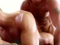 Mature gay masseur assfucks straight guys hole deep