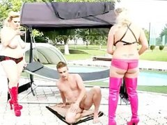 Two BBW Femdoms punish and play with young guy