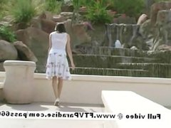 Lovely Amateur sexy brunette girl posingand flashing outdoor